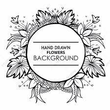 黒と白の花のフレームの描画手 ブラック 花 フレーム画像素材の無料