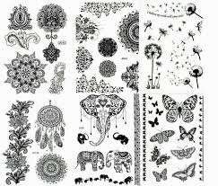 эскиз или трафарет для татуировки 6 Henna Body Paints Temporary Tattoos Black Lace Stickers For Girls And Women