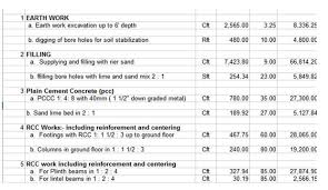 construction estimate sample building construction spreadsheet download construction estimate