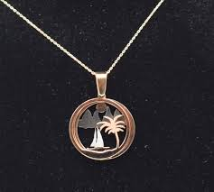 14k rose and white gold necklace 3 d palm tree pendant 45 cm