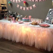 table decoration ideas for birthday party with lighted tulle