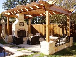 Outdoor Living Room Designs Nice Wooden Pergola With Stone Fireplace For Interesting Outdoor