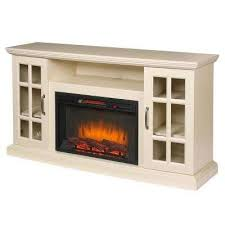 freestanding infrared electric fireplace tv stand in aged white