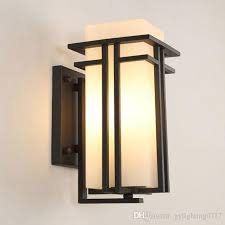 2019 black outdoor wall lamp metal glass shade garden lamp exterior wall lights antique post balcony porch wall sconces lighting from gylighting0717