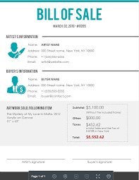 Sample Bill Of Sale Sample Artists Bill Of Sale Agora Gallery Advice Blog