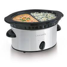 crock pot double dipper food warmer stainless steel