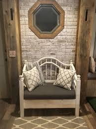 dirty white faux brick wall panel