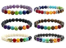 7 Chakra <b>Bracelets</b> & Bangles Men Lava Healing Balance Reiki ...