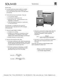 Full Load Amps Chart Solahd Transformer Selection Steps
