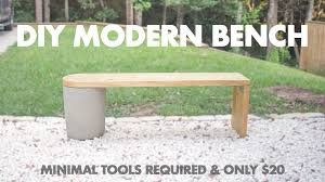 picture of 20 diy modern concrete and 2x12 wood bench very easy to make