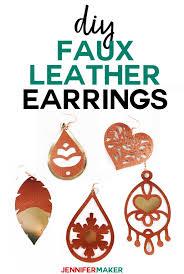 diy faux leather earrings with foil vinyl htv made on a cricut cricutexplore cricutmaker