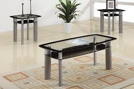 3pc Apollo Modern Glass Top Coffee Table End Table Set