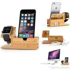 whole for apple watch iwatch iphone bamboo charging station stand usb charger dock bucket wood phone holder for iphone 7 6 8 plus 5s by cyber under