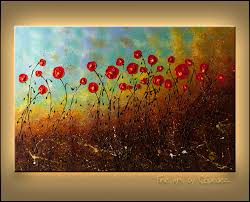 on red and light blue wall art with red flower wall art blue sky flowers abstract art