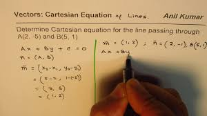 cartesian scalar equation of line through two points