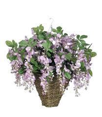 silk flower hanging baskets artificial wisteria plant in square basket arrangements silk flower hanging baskets
