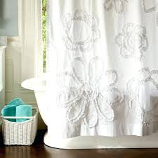 ruffle fl shower curtain white