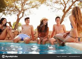 swimming pool with friends. Modren Swimming Friends Sitting At Swimming Pool U2014 Stock Photo In Swimming Pool With N