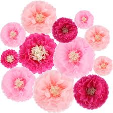 Paper Flower Tissue Paper Gejoy 12 Pieces Paper Flower Tissue Paper Chrysanth Flowers Diy Crafting For Wedding Backdrop Nursery Wall Decoration Color Set 1