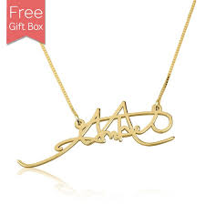 personalized gold plated signature name necklace