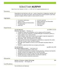 Aircraft Mechanic Resume Sampl