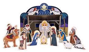 wooden nativity set larger view