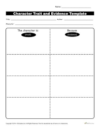 Character Traits Workshsheets Evidence Template