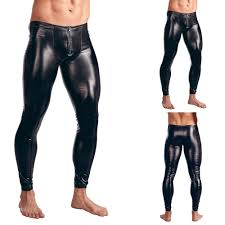 details about y men s patent leather leggings pants slimming stretch clubwear trousers new