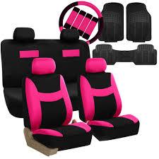 auto seat covers 16pc set w black floor mats accessories combo pink black 0