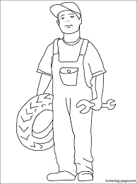 Auto Mechanic Coloring Page Coloring Pages