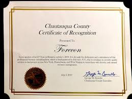 Certificate Recognition Chautauqua County Certificate Of Recognition George M