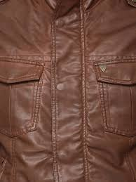 being human brown faux leather jacket with shoulder tabs for men in india
