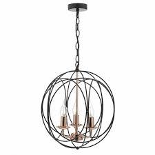 geometric 3 light black and copper ceiling pendant