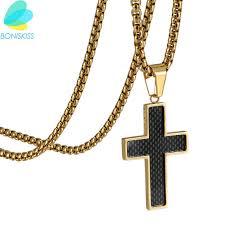 boniskiss cross necklaces jewelry whole 316l snless steel gold color chain cross men carbon pendant