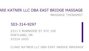 1164068490 NPI Number | CLARE KATNER LLC DBA EAST BRIDGE MASSAGE |  PORTLAND, OR | NPI Registry | Medical Coding Library | www.HIPAASpace.com ©  2020