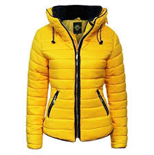 Womens Ladies Quilted Padded Coat Bubble Puffer Jacket Fur Collar ... & Womens Ladies Quilted Padded Coat Bubble Puffer Jacket Fur Collar Hooded  Thick [Mustard Yellow, Adamdwight.com