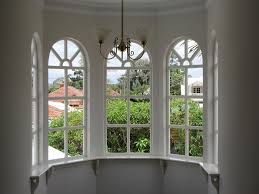 ... Outstanding White Polished Arched Windows Timber Frames With Brushed  Bronze Pendant Lamps As Luxury ...