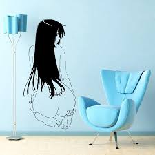 japanese cartoon vinyl wall decal anime manga manga y girl with scheme of anime wall decals
