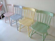 pastel colored furniture. not normally a pastel fanbut these are so lovely restyled vintage love each chair pained different color chairs with white table and colored furniture
