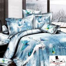 3d icy sky blue erfly bedding set and quilt cover