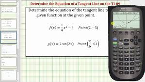 determine equations of tangent lines on the ti 89