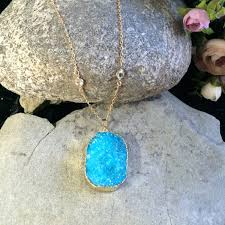 oval turquoise druzy pendant necklace