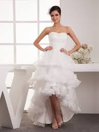 sweetheart hi lo organza wedding dress with ruffled skirt