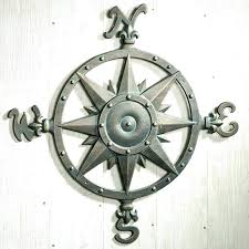 nautical compass rose wall decor star indoor outdoor metal art
