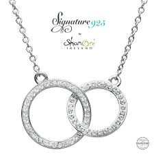 double circle necklace gold pendant silver encrusted with white crystal product