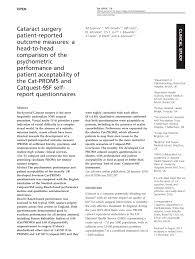 Pdf Cataract Surgery Patient Reported Outcome Measures A Head To