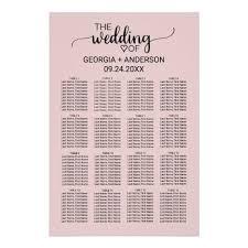 Calligraphy Wedding Seating Chart Blush Pink Calligraphy Wedding Seating Chart