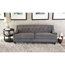 Shop Abbyson Claridge Dark Grey Velvet Fabric Tufted Sofa  Free Shipping  Today Overstockcom 9421268 Grey Tufted Sofa E50
