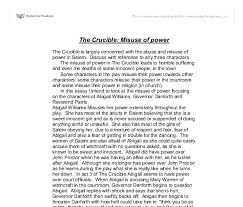 the crucible misuse of power gcse english marked by teachers com document image preview