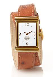 gold rectangular watch with double wrap strap brown ostrich image 1